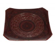 Marokkaanse serveerschaal vierkant gegraveerd 27cm rood 540 GR