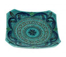 Marokkaanse serveerschaal vierkant gegraveerd 27cm blauw 540 GR