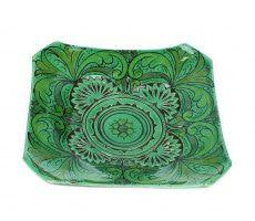 Marokkaanse serveerschaal vierkant gegraveerd 27cm groen 540 GR