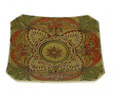 Marokkaanse serveerschaal vierkant gegraveerd 27cm oranje-geel 540 GR