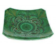 Marokkaanse serveerschaal vierkant gegraveerd 35cm groen 1060 GR