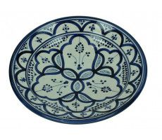 Marokkaanse serveerschaal rond 22cm blauw 500 GR