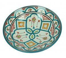 Marokkaanse serveerschaal rond 22cm oranje - groen 500 GR