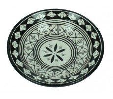 Marokkaanse serveerschaal rond 22cm zwart-wit 3 500 GR