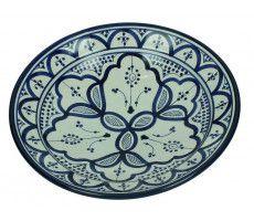 Marokkaanse serveerschaal rond 27cm blauw 720 GR