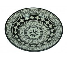 Marokkaanse serveerschaal rond 27cm zwart-wit 3 720 GR