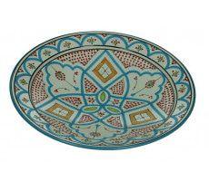 Marokkaanse serveerschaal rond 35cm oranje - groen 1370 GR