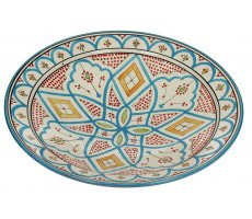 Marokkaanse serveerschaal rond 40cm oranje - groen 2030 GR