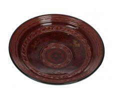 Marokkaanse serveerschaal rond gegraveerd 27cm rood 720 GR