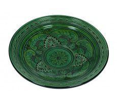 Marokkaanse serveerschaal rond gegraveerd 27cm  groen 720 GR