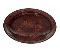 Marokkaanse serveerschaal rond gegraveerd 35cm rood 1370 GR