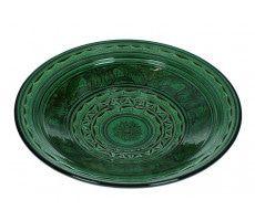 Marokkaanse serveerschaal rond gegraveerd 35cm  groen 1370 GR