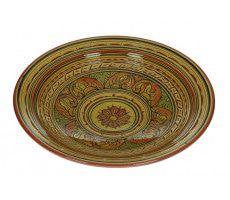 Marokkaanse serveerschaal rond gegraveerd 35cm  oranje-geel 1370 GR
